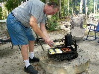 Camping and Cooking Breakfast